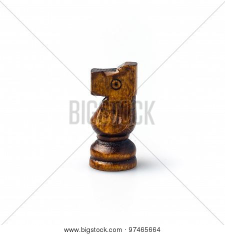 Dark Brown Wooden Chess Horse Isolated On White.