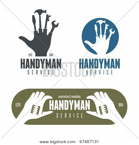 Handyman logos, emblems, badges in vintage style.