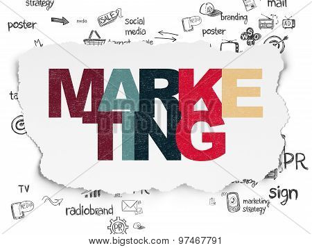 Marketing concept: Marketing on Torn Paper background