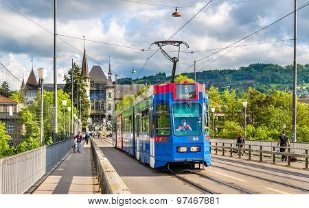 Bern, Switzerland - May 09: Be 4/10 Tram On Kirchenfeldbrucke In Bern On May 9, 2015. There Are 9 Tr