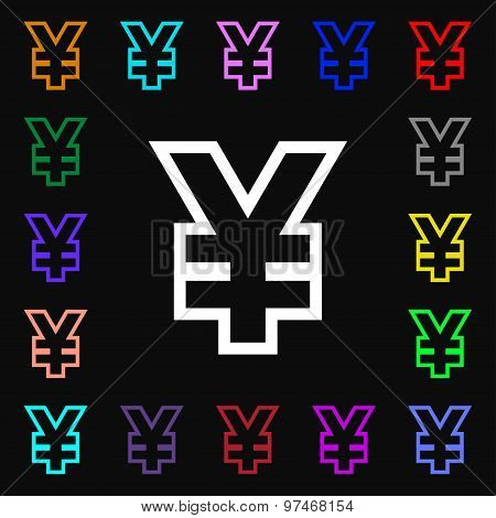 Yen Jpy Icon Sign. Lots Of Colorful Symbols For Your Design. Vector