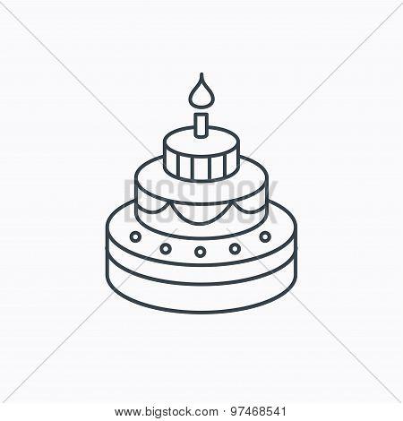 Cake icon. Birthday delicious dessert sign.