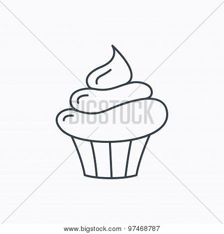 Cupcake icon. Dessert cake sign.