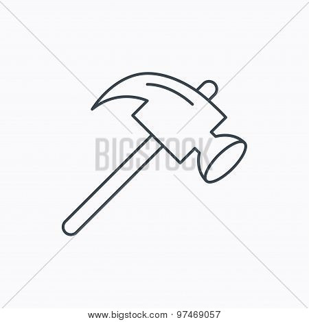 Hammer icon. Repair or fix sign.