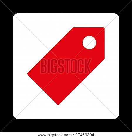 Tag flat red and white colors rounded button