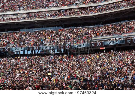Crowd Of Fans In Stands At Wrestlemania 31