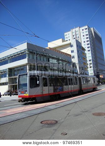 Muni Light-rail Train With Ad On Side