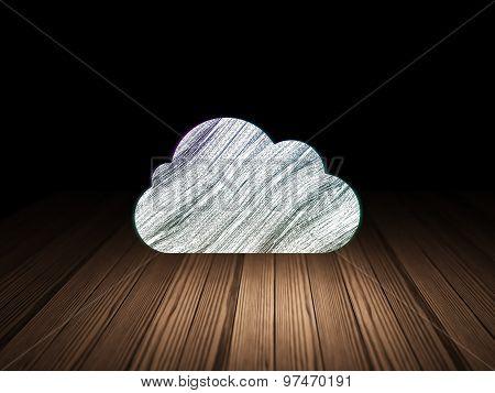 Cloud technology concept: Cloud in grunge dark room