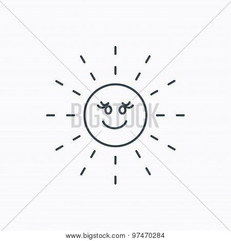 Sun rays icon. Summer sign.