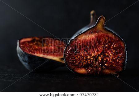 Very  Ripe Figs - Still Life On Black