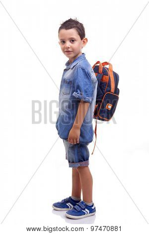 School kid standing on white background