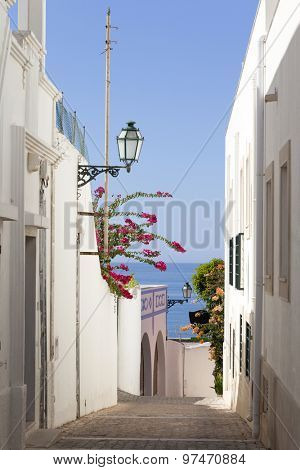 Street at old town in Albufeira, Algarve Portugal