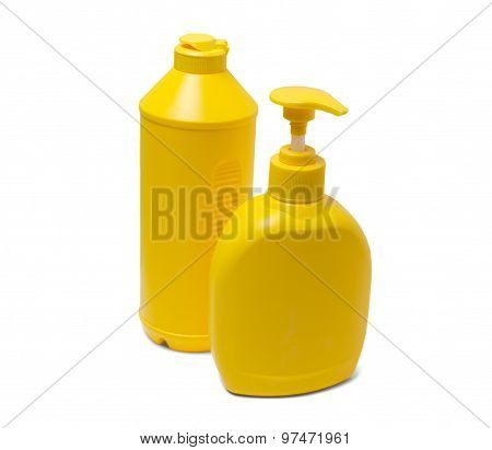 Yellow Containers For Detergents. Isolated On White Background