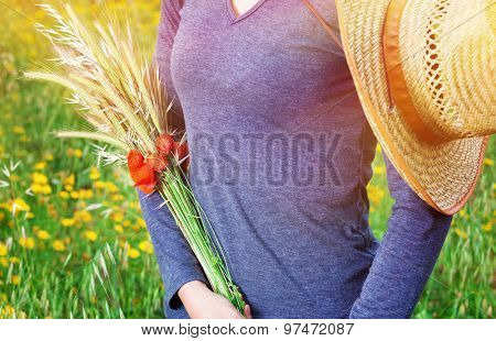 Woman standing on the field with autumnal bouquet in hands, ripe golden ears of wheat and red poppy flowers, body part, autumn harvest season concept