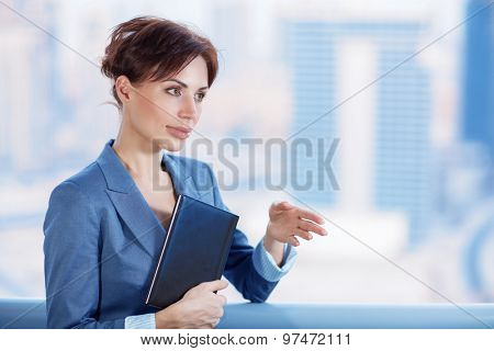 Confident business woman pulls her hand for a handshake, executive manager on the negotiations, making great deal, lifestyle of successful people