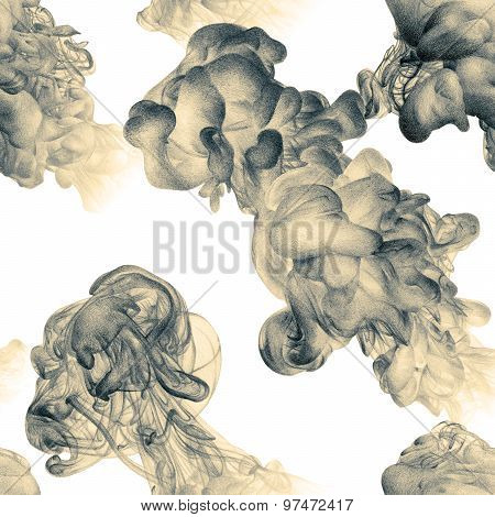 Seamless Patternwith Abstract Clouds Of Ink