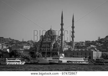 Mosque And Water Golden Horn. Istanbul, Turkey. Black And White Toned Photo.
