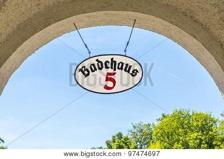 Sign Bath Cabin Number Five At Sprudelhof In Bad Nauheim In Summer