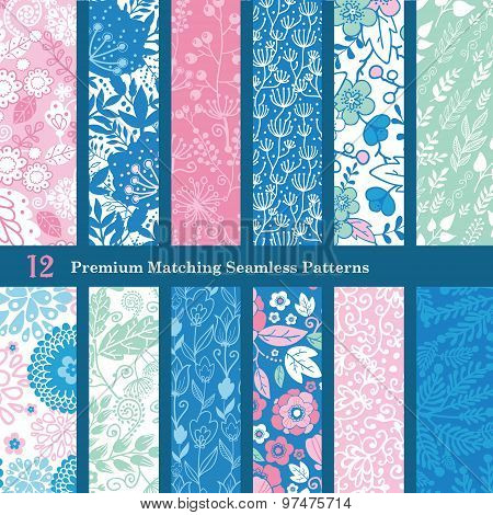 Vector Pink Blue Floral Hand Drawn Flat 12 Set Seamless Pattern