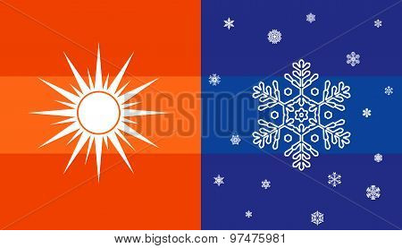 Sun and snowflake, climate symbol