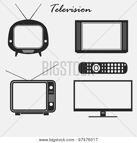 Television icons set