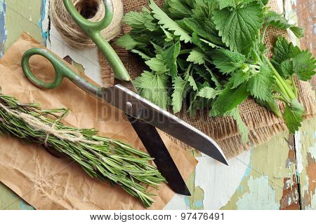 Leaves of lemon balm and rosemary sprigs with rope and scissors on wooden table, closeup
