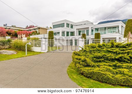 Luxury house at overcast day in Vancouver, Canada.