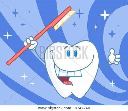 Cartoon Smiling Tooth With Toothbrush