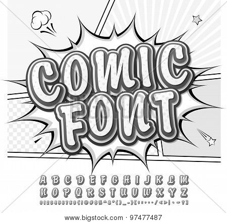 Creative High Detail Black And White Monochrome Comic Font