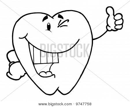 Outlined Happy Smiling Tooth Cartoon Character