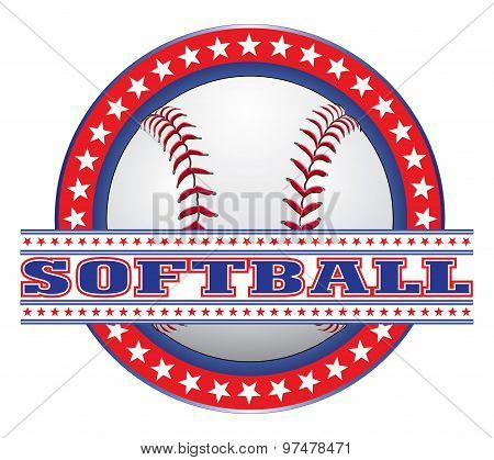Softball Design - Red White And Blue