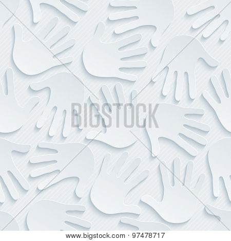 Handprints wallpaper. 3d seamless background. Vector EPS10.