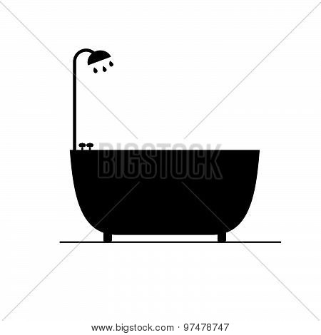 Bathtub Black Vector Silhouette