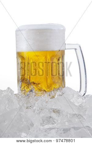 Lager With Foam In The Glass