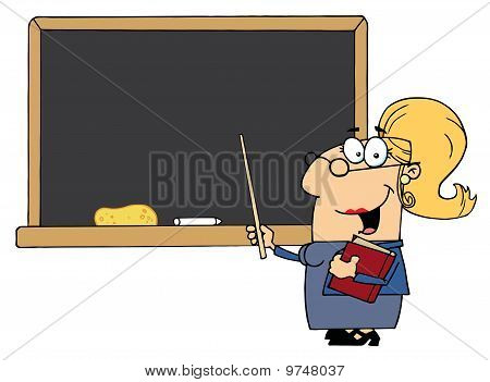 School Woman Teacher With A Pointer Displayed On Chalk Board