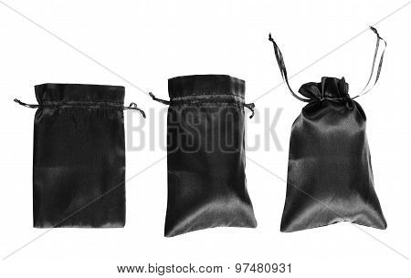 Black drawstring bag packaging isolated