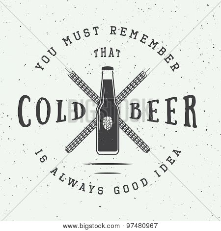 Vector Vintage Beer Logo With Slogan And Fun Motivation