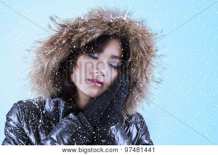 Woman With Comfortable Winter Jacket