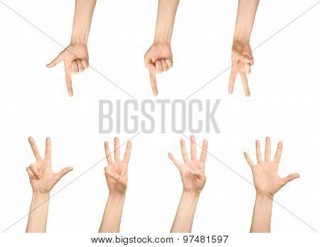 Female caucasian hand number gestures