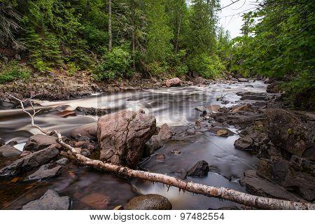 Cascade River With Fallen Tree Branch