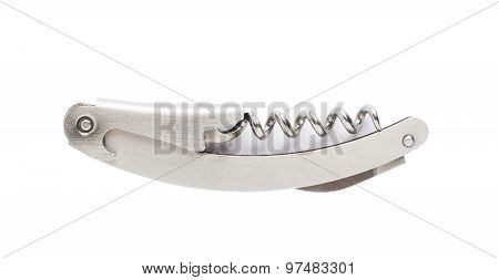 Metal bottle-screw corkscrew isolated