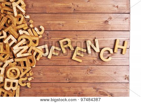Word french made with wooden letters