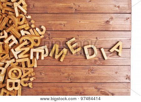 Word media made with wooden letters