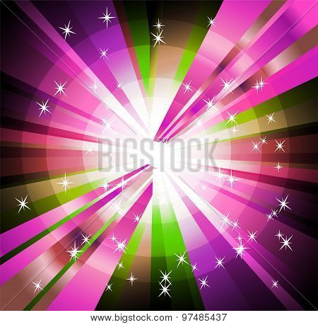 Burst light background with rays and star