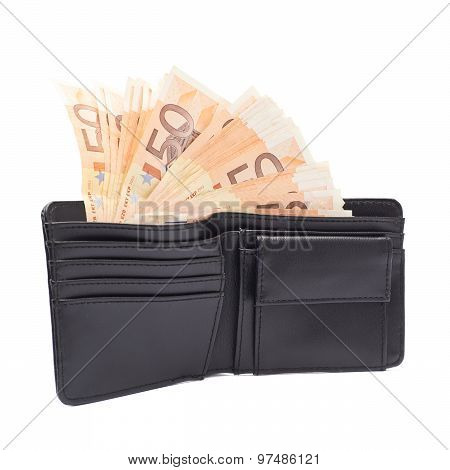 Wallet full of money isolated