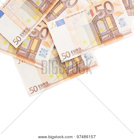 Multiple fifty euro bank notes