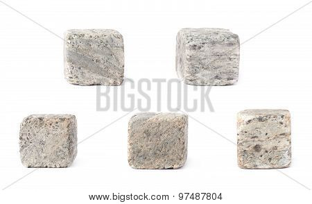 Set of five whiskey granite stones