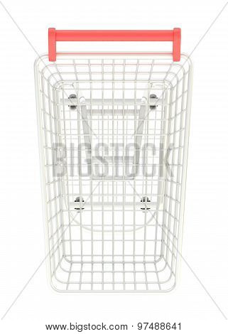 Metal shopping cart isolated