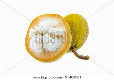Yellow Santol Fruit Isolated On White Background