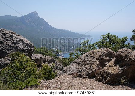 Mountain landscape with the image of the Crimean Mountains